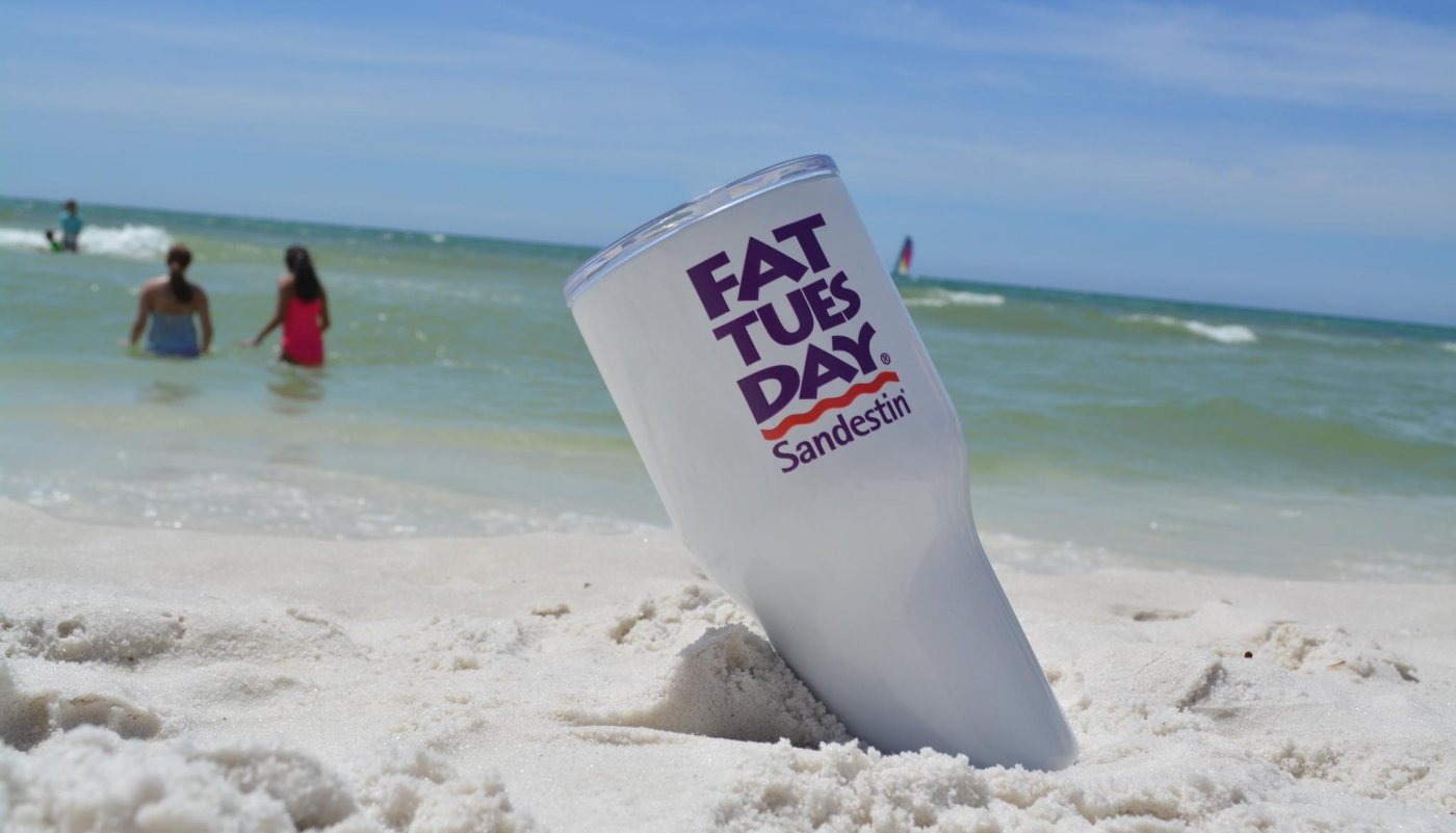 Fat Tuesdays cup in the sand