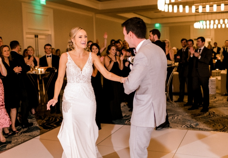 bride and groom dancing in the Azalea ballroom