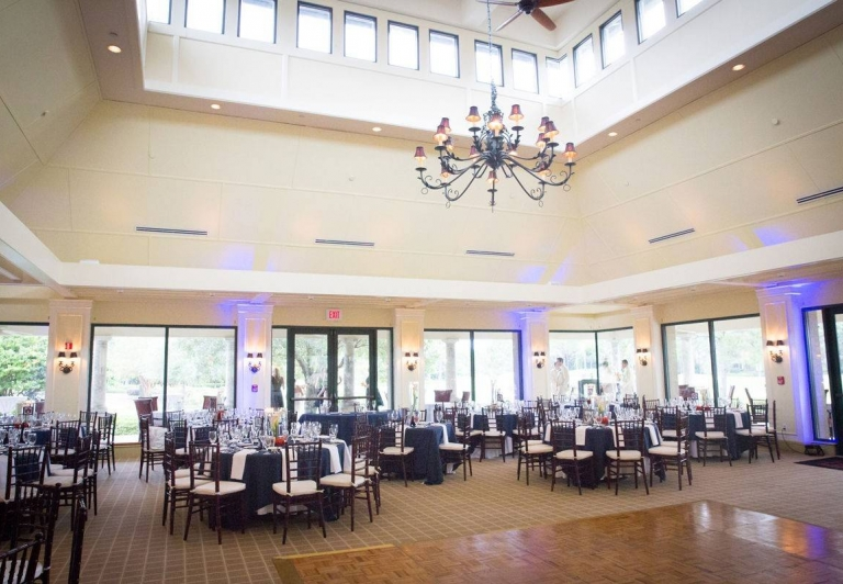 Burnt Pine wedding reception hall with large windows