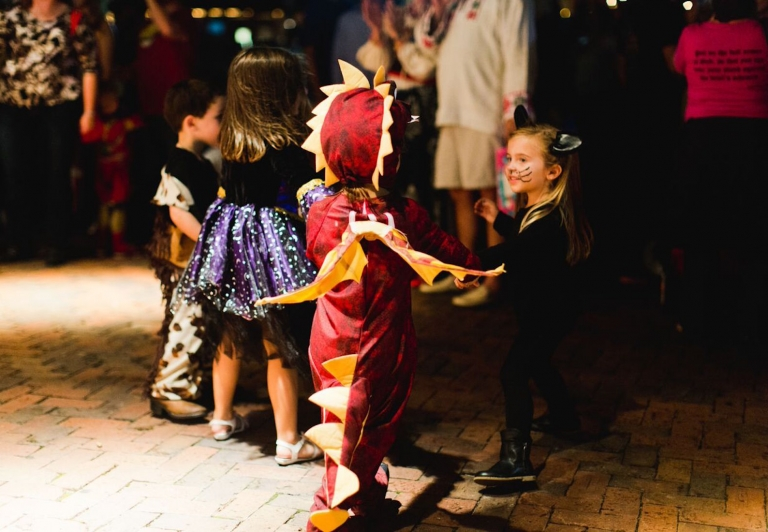 children dressed up for halloween