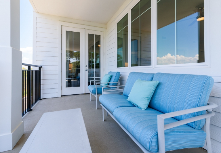 balcony in a three bedroom unit at Osprey Pointe