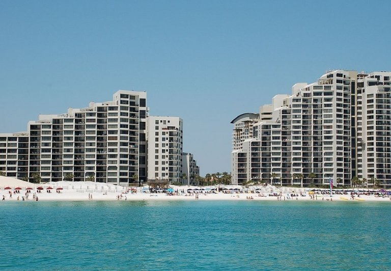 The Beachside buildings as viewed from the water