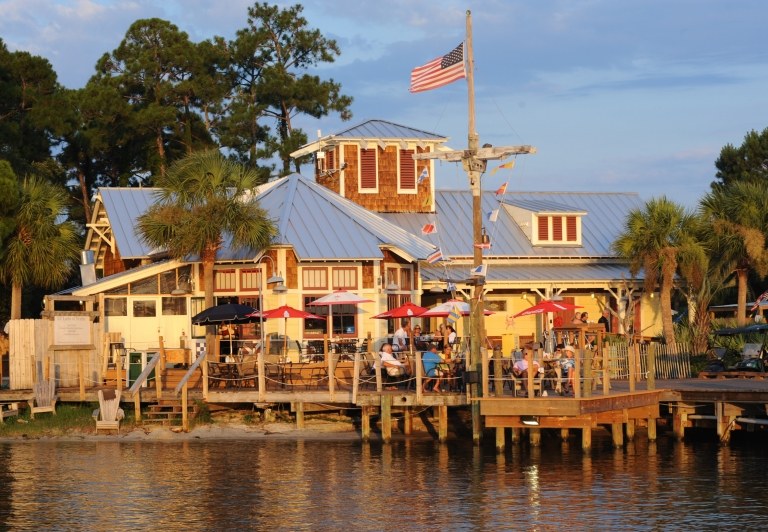 marina bar and grill as seen from the water