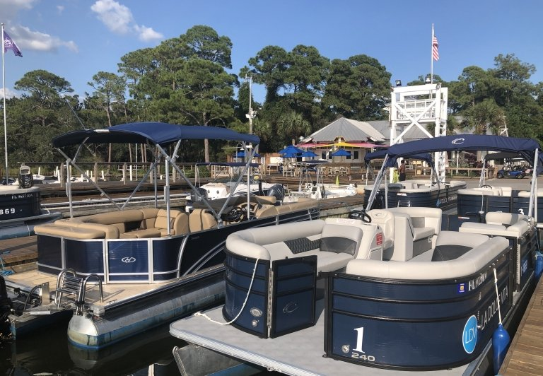 Pontoon boats at Sandestin Golf and Beach Resort