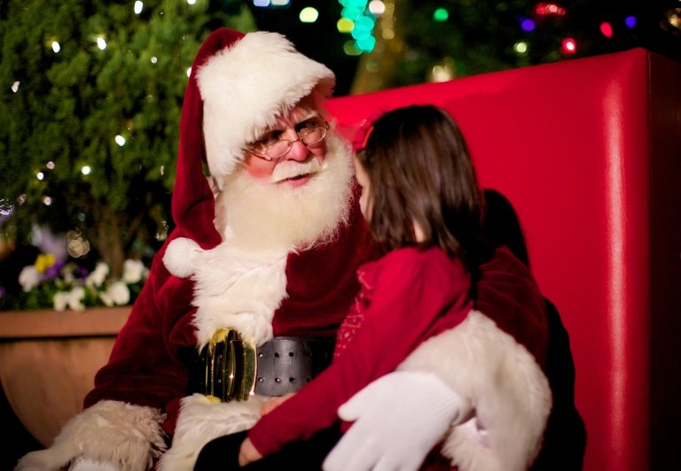 A young girl sitting on Santa's Lap
