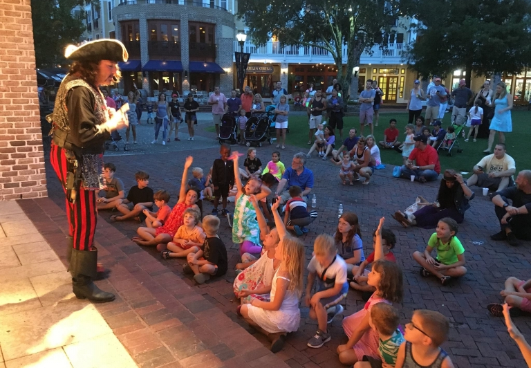 pirate in front of children