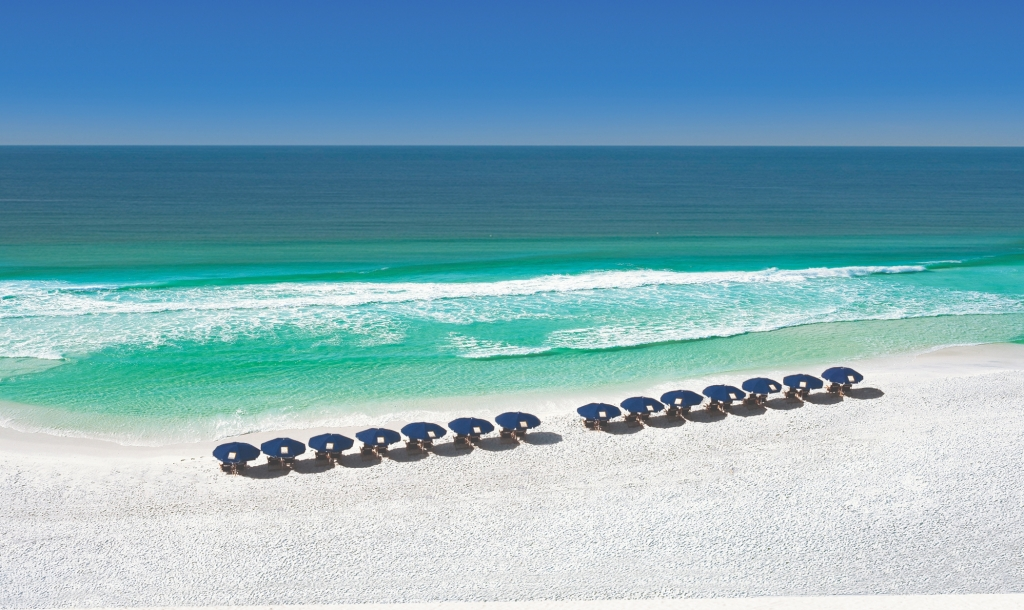 Row of beach umbrellas on the Sandestin Beach