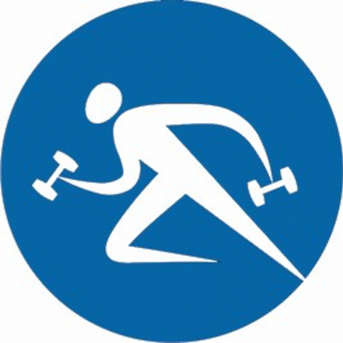 Fitness icon of individual holding hand weights