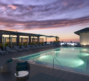 Ara Rooftop Pool & Lounge covered bar.