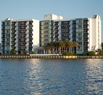 Bayside at Sandestin building with water in the foreground