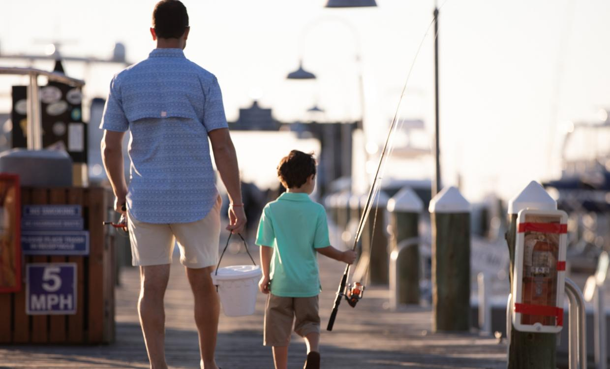 Man and son fishing