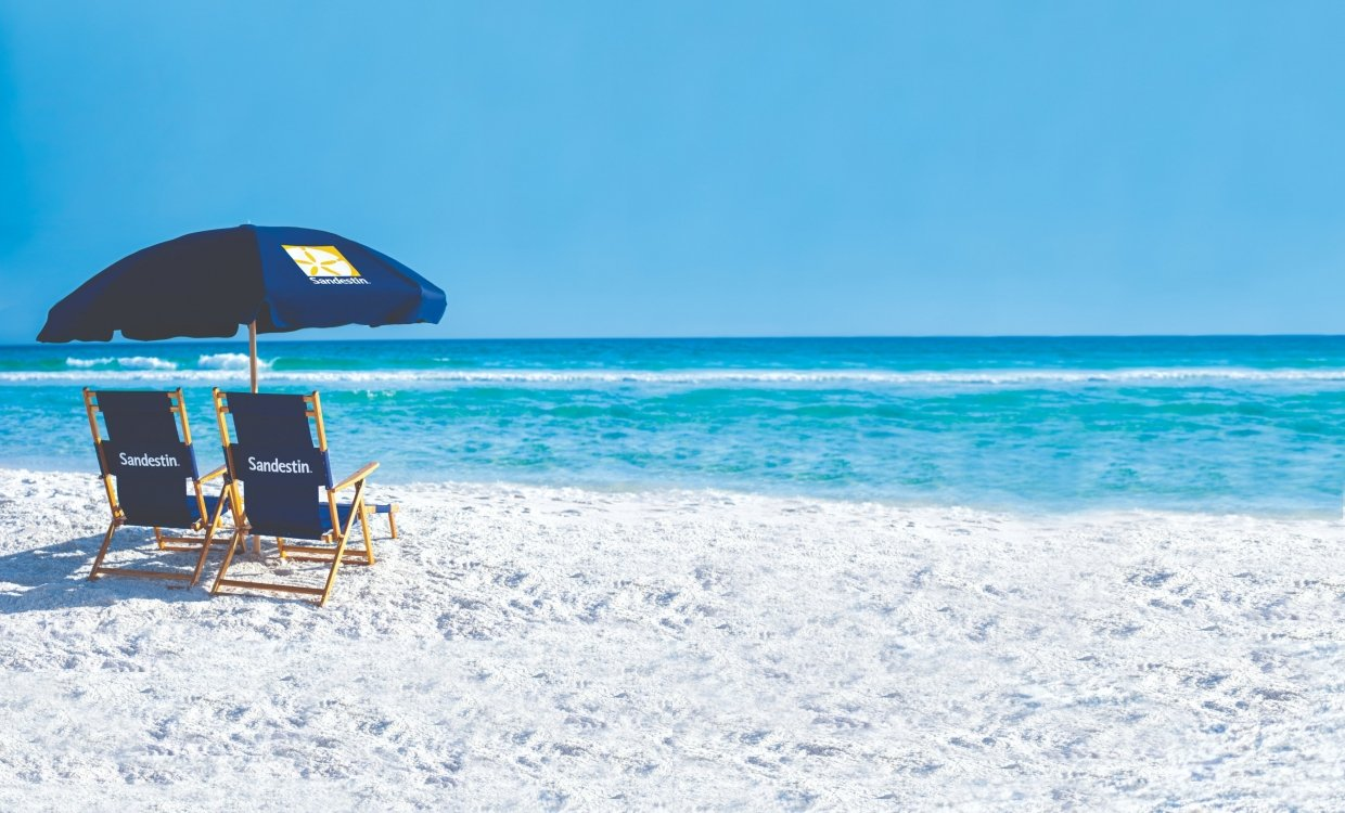 Sandestin beach umbrellas and chairs