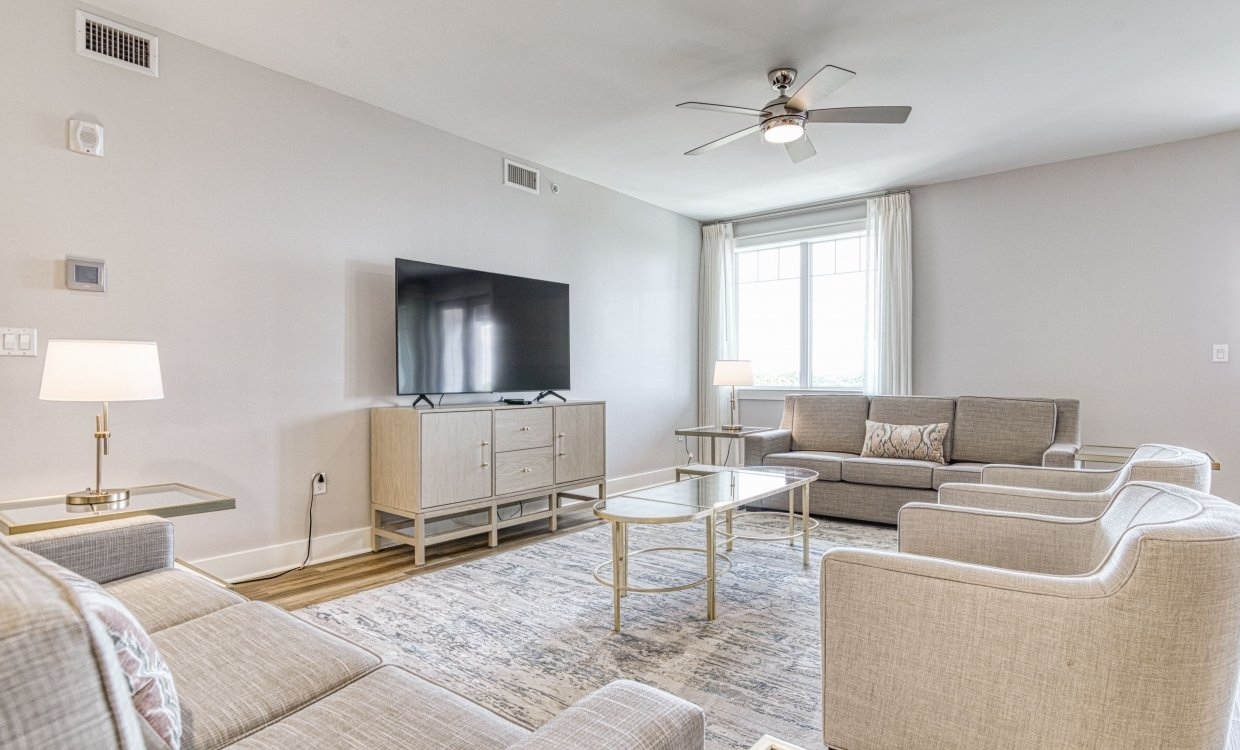 Living room in a three bedroom unit at Osprey Pointe