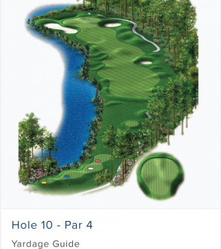 Illustration of Burnt Pine's 10th hole. Par 4.