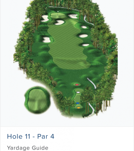 Illustration of Burnt Pine's 11th hole. Par 4.