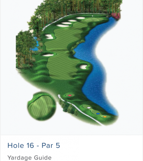 Illustration of Burnt Pine's 16th hole. Par 4.