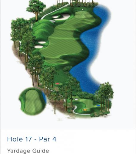 Illustration of Burnt Pine's 17th hole. Par 4.