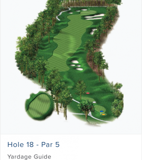 Illustration of Burnt Pine's 18th hole. Par 5.
