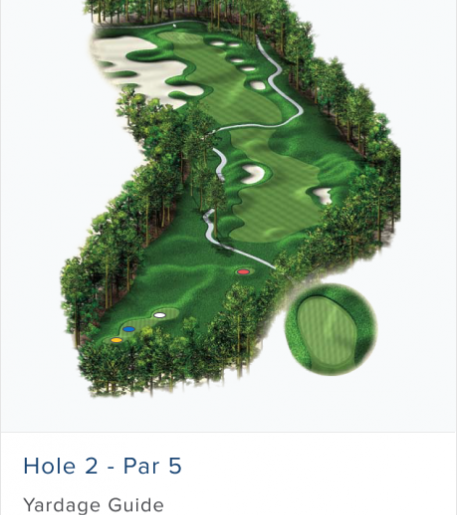 Illustration of Burnt Pine's 2nd hole. Par 4.