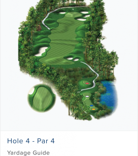 Illustration of Burnt Pine's 4th hole. Par 4.