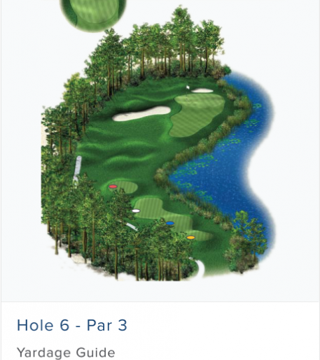 Illustration of Burnt Pine's 6th hole. Par 4.