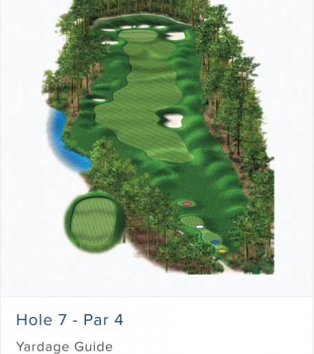 Illustration of Burnt Pine's 7th hole. Par 4.