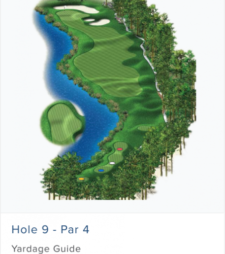 Illustration of Burnt Pine's 9th hole. Par 4.